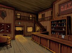 Did a quick sketch using Alias sketch book, then pulled it into Photoshop for the color work. Old West Saloon Western Saloon, Western Bar, Old West Saloon, Western Decor, Western Theme, Old West Town, Old Town, Westerns, Wallpaper Door