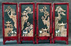Feng Shui Emporium - 4 - Panel Screen, Intricate Cork Carving, $33.00 (http://www.luckycat.com/4-panel-screen-intricate-cork-carving/)