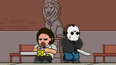 Leatherface & Jason Voorhees by Creepy by Design (gif)