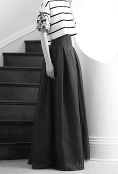 Stripe Crop-top & Pleated Maxi Skirt