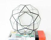 Large Geometric Terrarium / Icosidodecahedron / Handmade Glass Terrarium / Modern Planter for Indoor Gardening / Stained Glass Terrarium