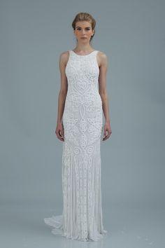 Tara dress (Sheath, Jewel, Straps, Sleeveless ) from Theia : White  Collection