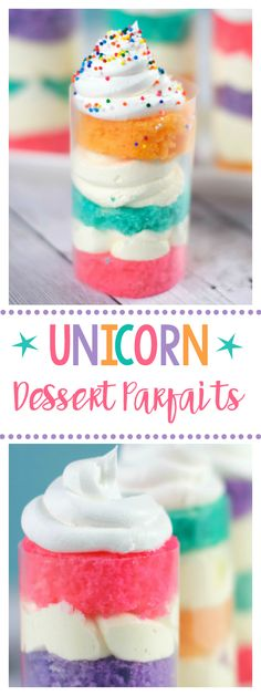 Unicorn Dessert Parfaits-Fun for Unicorn Birthday Parties or Just for FUN! This is such a cute and fun dessert. Mini Desserts, Parfait Desserts, Parfait Recipes, Delicious Desserts, Plated Desserts, Easy Desserts, Oreo Dessert, Unicorn Birthday Parties, Unicorn Party
