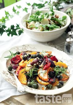 Mediterranean roast vegetables with olives, rosemary and olive oil
