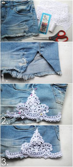 How to Make Lace Shorts: DIY Shorts Projects - Pretty Designs Diy Jeans, Shorts Diy, Denim Shorts, Diy Ripped Jeans Tutorial, Lace Jean Shorts, Sewing Shorts, Shorts Tutorial, Denim Purse, Lace Pants
