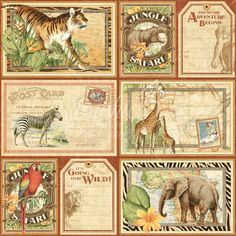 Graphic 45 - Safari Adventure - 12 x 12 Scrapbook Paper Jungle Expedition now available at The Rubber Buggy Graphic 45, Papel Vintage, Vintage Paper, Vintage Cards, Scrapbooking, Scrapbook Paper, Scrapbook Layouts, Images Victoriennes, Collages