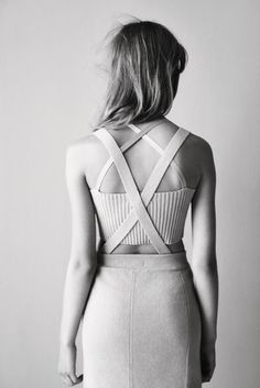 #dress #white #fitted #architectural #linear @Courtney LaLa + form