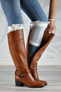 White Chevron Laced Boot Cuffs                                                                                                                                                     More