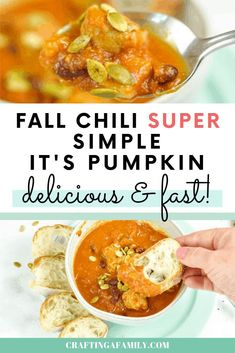 Your family will love delicious pumpkin chili with turkey sausage. You will love all the vegetable goodness packed in the pumpkin and the kidney beans. Simple to put together, and quick to cook you will have dinner on the table in no time. #chili #turkeychili #pumpkinchili #pumpkinrecipe