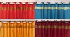 This beautiful curtains are made with an embroidered sari border on the top and bottom, and adjustable tie tops. The fabric is a poly blend for color fastness and durability. Indian Curtains, Silk Curtains, Velvet Curtains, Beautiful Curtains, Indian Art, Red Gold, Color Red, Vibrant, Burgundy