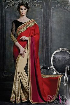 Red and Cream Art Silk and Faux Georgette Saree   http://www.fashionfemina.com/catalogs/magnificent-designer-sarees-online/  #sarees, #designer sarees, Wedding sarees, Online shopping, #latest collection #indian sarees, #ethnic sarees collection #buy designer sarees online #new arrival