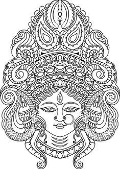 adult coloring pages Durga Painting, Kerala Mural Painting, Tanjore Painting, Indian Art Paintings, Doodle Art Drawing, Mandala Drawing, Art Drawings Sketches, Buddha Drawing, Tatuagem Sak Yant
