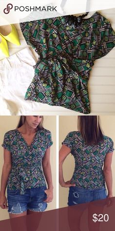 "Odille Geometric Sash Top Odille Geometric Sash Top | size 2, rayon | Anthropologie brand v-neck top with empire waist; attached sash ties under bust in front | hidden side zipper | such a pretty mix of green, navy & yellow!   17"" UA to UA 21"" length Anthropologie Tops Blouses"