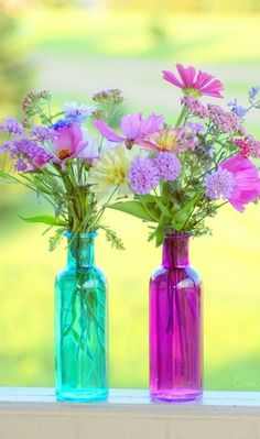 I love fresh flowers in decorative containers.