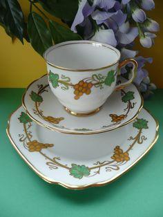 RARE Royal Albert Crown China Vine Tea Set Trio Cup Saucer Tea Plate   eBay
