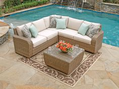 Biscayne 4 Pc Aluminum Woven Resin Wicker Sectional Sofa Group Pool Deck Furniture