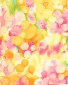 Watercolor Impressions - Floral Dreamscape - Pastel Yellow