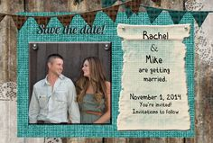 Teal rustic save the date printable you print by OldOwlPress, $15.00