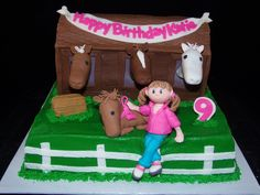 Girl with Pony and Stables Cake-GoochieGourmet.com