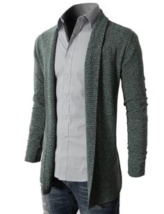 Men's Shawl Collar Cardigan With No Button
