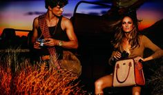 On the Safari – Karmen Pedaru and Simon Nessman play nature lovers for Michael Kors' spring 2012 campaign. Joined by a tour guide and male model Armando Cabral, the duo soak in the sights with Kors' safari inspired creations featuring animal prints, satchel bags and tawny jumpsuits styled by Brana Wolf.