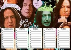 Timetable Planner, School Timetable, Slytherin, Hogwarts, School Planner, Back 2 School, Harry Potter Universal, Film Books, School Notes