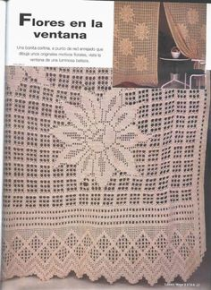 World crochet: Curtain 49 Crochet Curtains, Crochet Fabric, Crochet Doilies, Filet Crochet Charts, Crochet Stitches, Crochet Patterns, Tablecloth Fabric, Crochet Tablecloth, Tablecloths