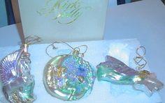 Kirks Folly Set Fairy Glass Ornaments 3 glass blown ornaments
