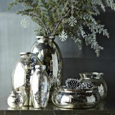 Group at least 2 large vases together for a nice display. Dining rm/ foyer. Mercury-Glass Vases | west elm