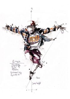 French artist Florian Nicolle plays with the shapes of watercollor to explore the phisics of breakdance. The work stands out for its unfinnished traces and its inherent dinamism.
