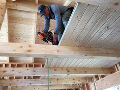 DIY Loft Floor Wood Ceiling for our Alaska Lake Cabin Loft Flooring, Cabin Loft, Building A Cabin, Garage Loft, Upstairs Loft, Loft Room, Lake Cabins, Tongue And Groove, Diy Network
