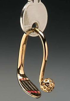 Ladies Golf Iron and Ball Key Chains - Gold