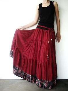NO.25 Burgundy Cotton, Hippie Gypsy Boho Tiered Long Peasant Skirt. $42.00, via Etsy.
