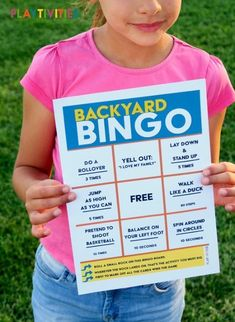 BACKYARD BINGO GAME WILL KEEP KIDS ACTIVE! Backyard Bingo is a game, where kids try to complete fun and active challenges in the backyard (or front yard, park, etc). The goal is to keep kids moving, stay outside and have a great time. Outside Games For Kids, Backyard Games Kids, Bingo For Kids, Printable Activities For Kids, Outdoor Activities For Kids, Fun Activities For Kids, Family Activities, Backyard Ideas, Camping Games For Kids
