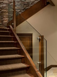 Glass and wood railing design by manchester architects inc indoor stair railing, staircase railings, Wooden Staircase Railing, Indoor Stair Railing, Modern Stair Railing, Stair Railing Design, Modern Stairs, Railing Ideas, Balustrade Design, Glass Balustrade, Deck Railings