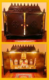 Homemade Pooja Mandir - Projects to Try - Beauty Room Wooden Temple For Home, Temple Design For Home, Home Temple, Pooja Room Door Design, Interior Design Living Room, Pooja Mandir Usa, Mandir Design, Puja Room, Room Setup