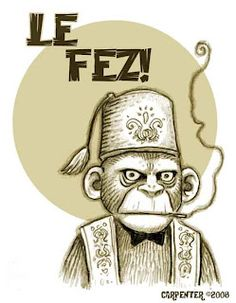 Is there anything cooler or more dangerous than a sinister, cigarette-smoking monkey sporting a fez? ---------------- Now playing: Armando. Tiki Art, Tiki Tiki, Funy Animals, Gorillas In The Mist, Monkey Art, Tiki Room, Vintage Hawaii, Poster Pictures, Monkey Business