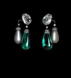 JAR Emerald and Pearl Earrings