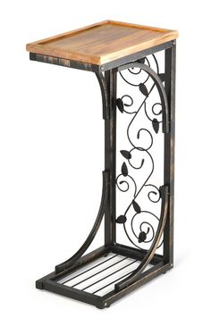 2 Side Sofa Snack Table with Acacia Wood Top and Vine Motif by Trademark Innovations * Check this awesome product by going to the link at the image. Iron Furniture, Steel Furniture, Living Room Furniture, Diy End Tables, Wood End Tables, Snack Tables, Sofa Tables, Coffee Tables, Wrought Iron Decor
