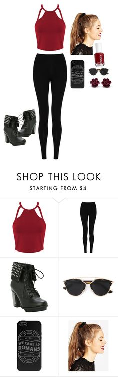 """""""Red is the way to go"""" by pancakehipser ❤ liked on Polyvore featuring Miss Selfridge, M&S Collection, Christian Dior, ASOS and Essie"""