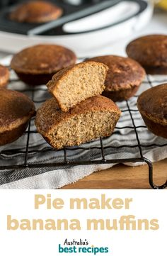 Use your pie maker to whip up these easy banana muffins. Theyre delicious wholesome and they cook in under 10 minutes. Mini Pie Recipes, Muffin Tin Recipes, Cake Recipes, Good Foods To Eat, Food To Make, Banana Oat Muffins, Banana Bread, Gluten Free Banana, Australian Food