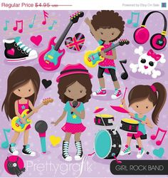 80% OFF SALE Rock star girls clipart commercial use, band vector graphics, music digital clip art, digital images - CL809
