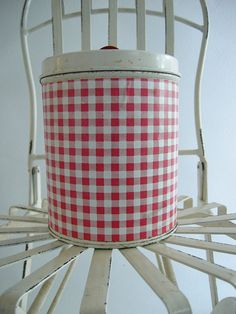 Red Gingham Tin Canister