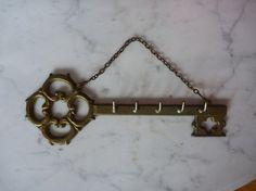 Vintage 70s Hanging Brass Skeleton Key Holder Home by ViperVintage, $19.99