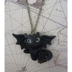 Toothless - How to Train Your Dragon - Night Fury Necklace ($30) ❤ liked on Polyvore featuring jewelry, necklaces, clay necklace, handcrafted jewellery, chain necklaces, antique brass necklace and nickel free necklace