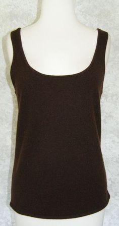 RALPH LAUREN Black Label Dark Brown 100% Cashmere Tank Sweater Shell Fall XL #RalphLauren #VestSleeveless
