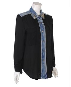 Stud Collar Blouses with Denim Placet