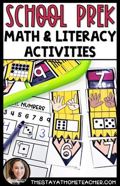 These school themed math and literacy activities are perfect for your preschool, prekinder and kindergarten students! Choose from 28 hands-on activities to practice counting, numbers, letters, fine motor skills, and so much more! #preschool #mathcenters #literacycenters