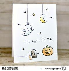 """Supersüße Halloweenkarte mit dem Klartext-Stempelset """"Mini-ABC""""   von Reni Kleinwechter für www.danipeuss.de   #danipeuss #klartextstempel #kartenbasteln"""