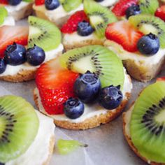 Mini fruit pizzas. Would use plain cream cheese, so cute for a sweet snack.